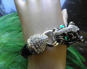 Rhinestone Tiger Bangle, Cuff Bracelet Look of Ciner