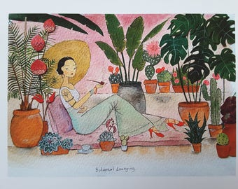 Botanical Lounging, A4 Art Print with boarder.....