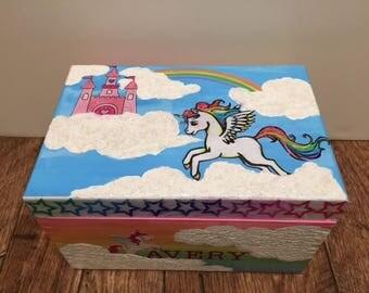 Unicorn and Rainbow Wooden Trasure Box, Unicorns, Rainbows, Little Girls, Wooden Boxes, Trinket Boxes, Treasure Boxes