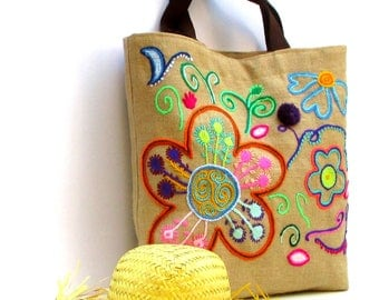 Natural Burlap Jute Tote Summer Beach Bag hand embroidered with bright flowers, bohemian inspired, handmade, elegantly designed jute tote