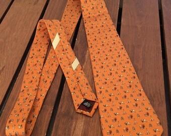 15%OFF VACATION SALE 80's Fabulous Salvatore Ferragamo Buffalo Teppe Carriage Orange Silk Tie Made in Italy