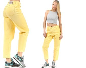 Mom Jeans 80s High Rise Jeans High Waisted Denim Mom Pants Zip Up Tapered Trousers Yellow Retro Ankle Pants Vintage Waist 30 Medium