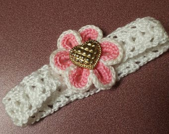 White Crochet Flower Headband. Handmade Crochet Headband. Baby Headband.