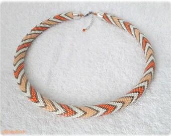 Orange peach cream pastel zigzags seed bead necklace elegant accessory handmade geometric zigzag pattern