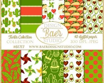 Digital Paper Summer:Fiesta Digital Paper, Cactus Digital Paper, Taco Digital Paper, Avocado Digital Paper, Mexican Paper, Cinco de Mayo