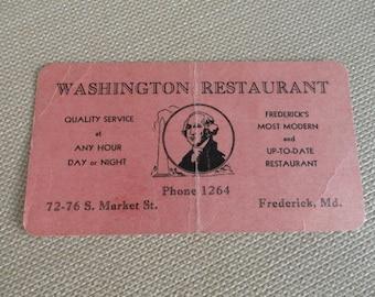 The Washington Restaurant card Frederick, Md  antique vintage