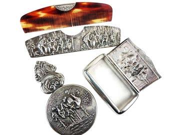 Vintage Hans Jensen Denmark Silver Plate Repousse Hinged Pill/Snuff Box, Hand Mirror & Hair Comb/Sheath Vanity Purse Set