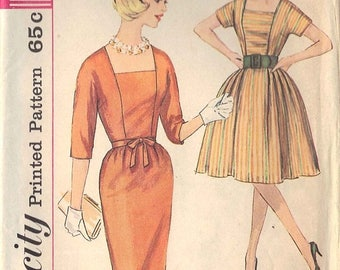 50% OFF 1960's Simplicity Dress Sewing Pattern No. 4532 Size 14, Bust 34 // Vintage Misses' One Piece Dress with Two Skirts, Square Neckline