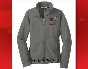Nurse's Jacket, Monogrammed RN Jacket, Embroidered Stethoscope, Full Zip Fleece Jacket, Personalized Nurse Jacket, Stethoscope Monogram