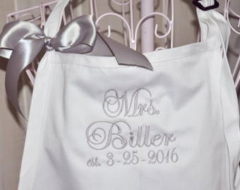 Mrs. Apron, Personalized Apron, Monogrammed Apron, Custom Embroidered Apron, Wedding Shower Gift, Engagement Gift, Couples Gift, Bride Apron