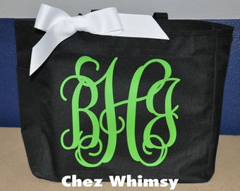 Personalized Tote Bag, Monogrammed Tote, Large Design Tote, Glitter Monogram, Bridesmaid Gift, Tote with Bow, Teacher Gift