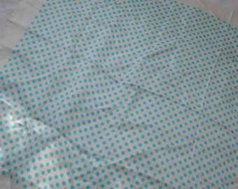 Aqua Blue and White Polka Dot Silk Scarf/Vintage 1960s/Square Echo Neck Scarf