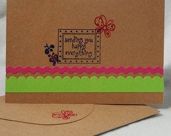 Sending You Happy Everything Card Handmade Hand Stamped