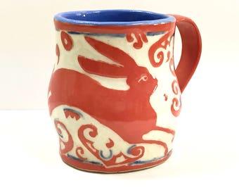 In STOCK! New Design Sgraffito Stoneware Mug - Leaping Bunny Rabbit - Curls Swirls Otomi-Like Folk Art - Adorable!