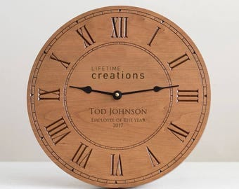 Custom Engraved Wood Clock with Logo: Custom Wood Clock, Employee Recognition, Employee Gift, Donor Gift, Employee Award, SHIPS FAST