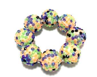 Toddler, Girls, Teen, Ladies All Bling Halloween Sparkle Chunky bracelet - Purple, Orange, Green and Black Chunky Bracelet - Zombie Bracelet