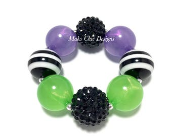 Toddler or Girls Purple, Black and Green Chunky Bracelet - Halloween Chunky Bracelet - Girls Witch Bracelet - Green Zombie Bracelet
