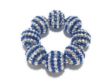 Toddler, Girls, Teen, Ladies All Bling Royal Blue and Silver Sparkle Chunky Bracelet - Princess Blue Bracelet - Flower Girl Bracelet