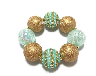 Toddler or Girls Mint and Gold Chunky Bracelet - Mint Green sparkle chunky bracelet - Spring Mint Bracelet - Flower girl chunky bracelet