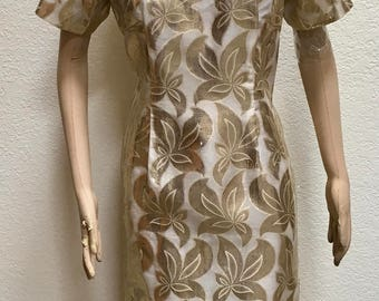 Hawaiian Maxi Dress Gold Metallic Floral Print Hand Crafted Full Length Frock Vintage