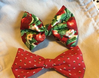 Two Red Floral Fabric Hair Bows