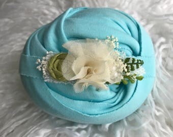 Organic Cotton AQUA knit wrap and floral tieback for newborn photography, soft & stretchy set, organic newborn wrap includes US shipping