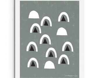 Neutral - Floating Arches and Triangles | Modern Art | Instant Download Printable Art, Digital Download, Abstract Art, Wall Art
