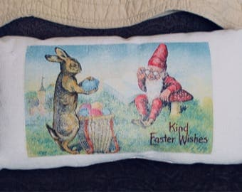 Easter Scene Gnome and Easter bunny FREE SHIPPING 18 x 10