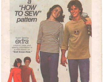 1977 - Simplicity 7865 Vintage Sewing Pattern Size 18 Bust 40 How To Sew Stretch Knits Pullover Tops Bateau Neck Gussets Set In Long Sleeves