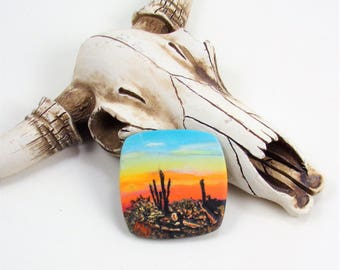 StudioStJames Rustic Handcrafted Polymer Clay Focal 34mm Pendant Cabochon Bead-Saguaro Sunset-Southwestern Theme-PA 100734