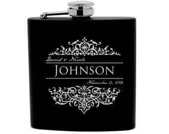 Personalized Flask Print 6oz Stainless Steel powder coated  Groomsmen Gift, Birthday Gift,Sports Wedding favors 0007