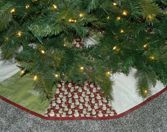 SALE CLEARANCE Black Friday Cyber Monday. Christmas Tree Skirt. Red Green & White. Snowman. Quilted. Rustic. Modern. Cute.