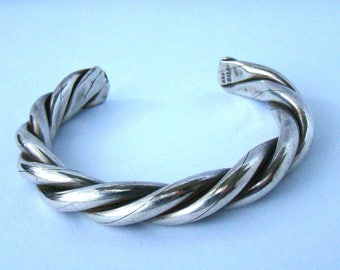Vintage Sterling Mexico Heavy Twisted Rope Cuff Bracelet