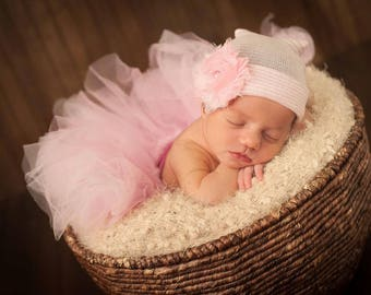First Bow Newborn Hospital Hat Bling Shabby Chic Flower Pink (newborn girl hat, newborn beanie, newborn hospital hat with bow, first bow)