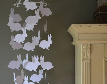 Bunny nursery mobile or baby mobile made from white card stock --- Handmade mobile, Peter rabbit style, baby gift or nursery decor