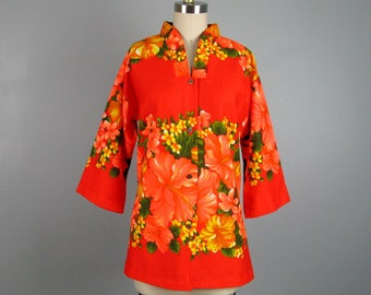 Vintage 1960s Cotton Blouse 60s Hawaiian Tiki Lounge Kimono Shirt Size M