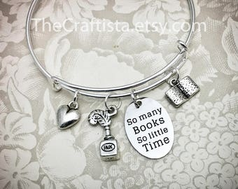 RDG, Reading Teacher Bangle, Gifts for Reading Teachers, Writing Teacher, Book Charm, Quill and Ink Charm, Reading Coach, Librarian Bracelet