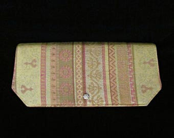 Vintage '60s Metallic Gold Clutch Handbag Brocade Satin Lined Evening Bag Egyptian Revival Greek Key Pattern Envelope Purse