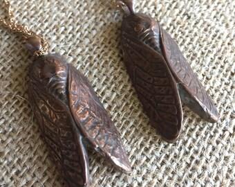 Solid Bronze Cicada Pendant