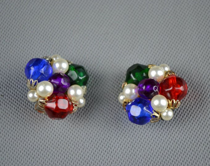 Vintage Pat Butcher 1990's 90's Statement Glass Bead and Pearl  Clip on Lacroix style Earrings