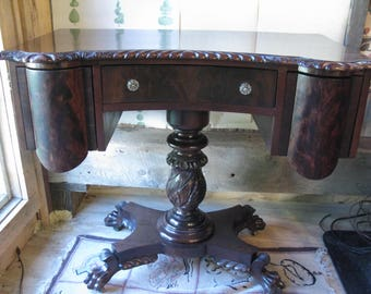Solid Mahogany Empire Work Table