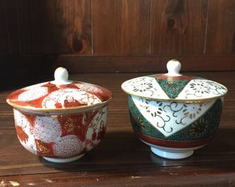 Two Small Vintage Kutani Lidded Dishes Cups with Lids Hand Painted China Japanese Small Covered Dishes