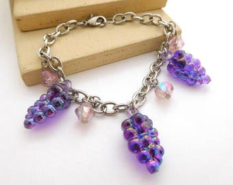 1980s Purple Grape Bunch Charm Silver Tone Link Bracelet H50