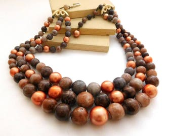 Vintage Japan Layered Multi-Strand Brown Faux Stone Peach Pearl Necklace M50