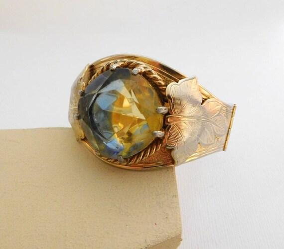 Vtg Sarah Coventry Versailles Green Glass Gold Victorian Revival Bracelet SS12