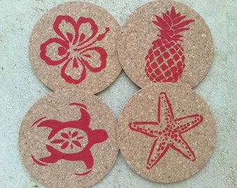 Hawaii Drink Coaster Set, Beach Coasters, Beach Coaster Set, Round Drink Coaster Set, Pineapple Coaster Set, Hawaiian Coaster Set