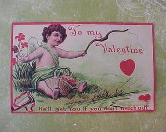 Sweet Edwardian Era Valentine Postcard with Cupid
