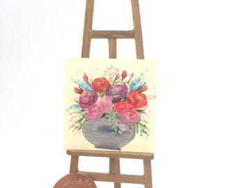Rose Vase Painting Still Life Original Art Flower Painting Miniature Dolls House Art Picture Dollhouse