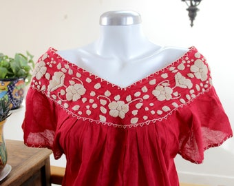 Hand Embroidered mexican top,Red cotton gauze tunic,Boho shirt,bohemian fashion, flowers design, off shoulder neckline,Womens, gift for her.