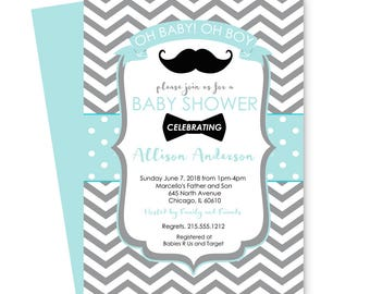 Dapper Bow Tie Baby Shower Invitations Boys - Mint and Grey - Chevron Striped - Guest Announcement - Retro Party Ideas - Plan a Celebration